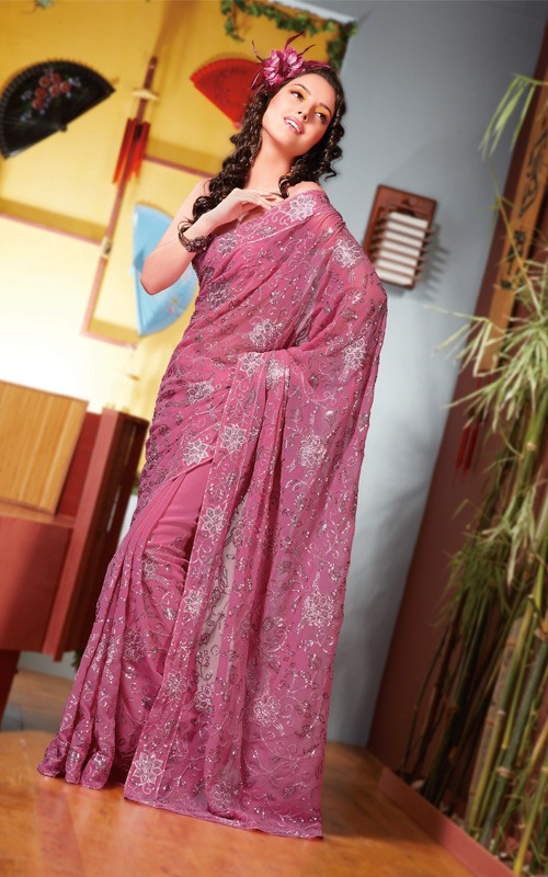 pink-georgette-saree
