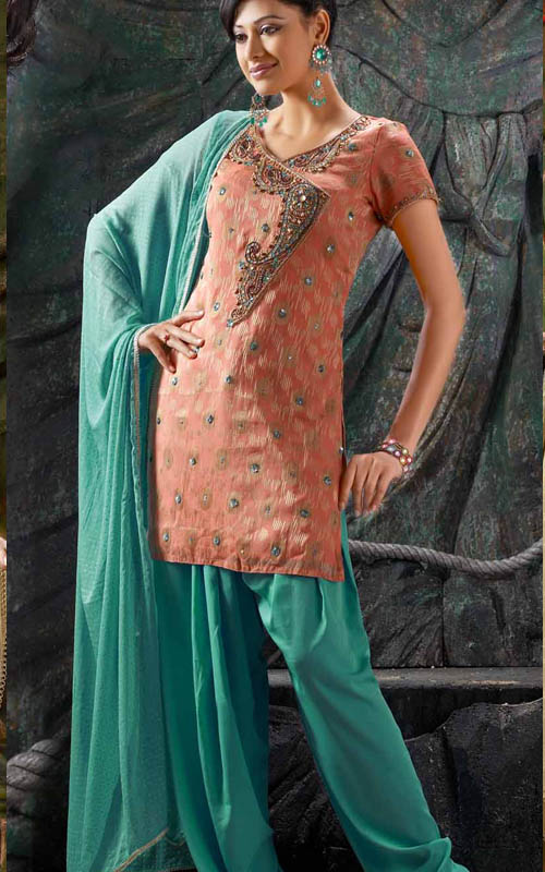 Peach Green Designer Suit Salwar