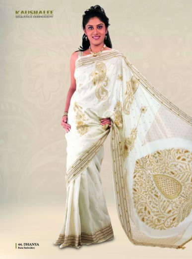 Half White Designer Silk Saree