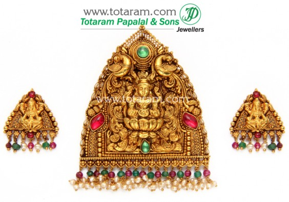 Temple jewellery lakshmi pendant set from totaram jewellers lakshmi pendant set totaram jewellers mozeypictures Choice Image