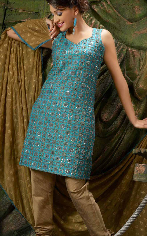 Blue Light Brown Designer Suit Salwar