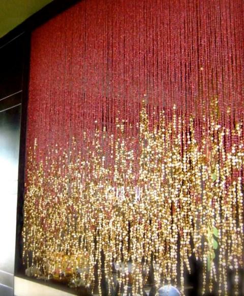 pomegranate-gold bead curtain