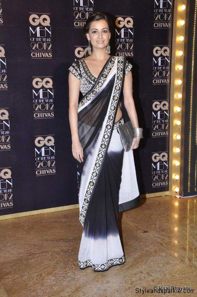 Dia Mirza looks stunning in a black and white Anita Dongre saree