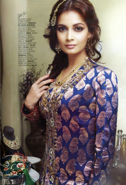 Diya Mirza wearing the ANITA DONGRE - TIMELESS collection in the Wedding Vows Magazine July 2011 issue
