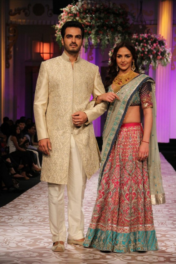Esha Deol and Bharat Takhtani looked spectacular in Anita Dongre ensembles