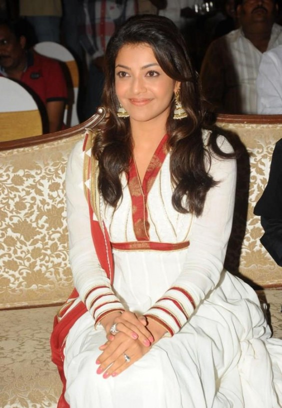 Kajal Agarwal was spotted in a white Anita Dongre anarkali