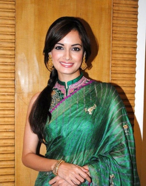 49ed5c994ec41 Dia Mirza in Green Halter Neck Blouse and Tussar Saree