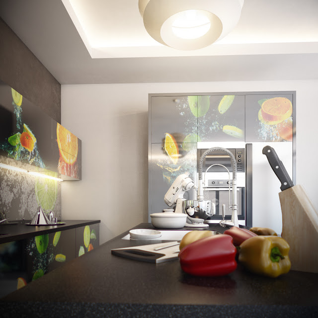 Beautiful Kitchens with Cupboards in Lemon n Orange Photoprints