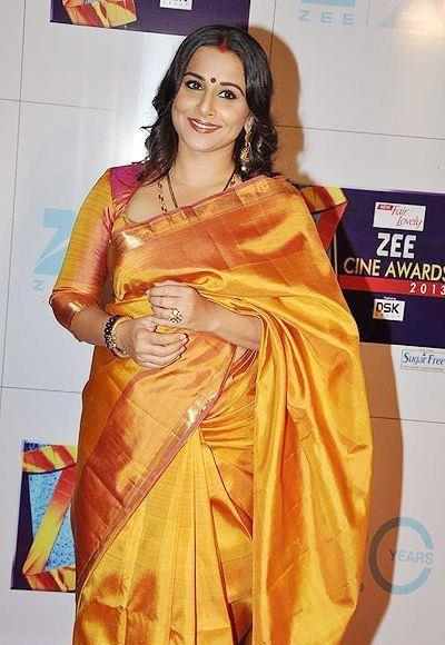 vidya-balan-mustard-pink-kanjivaram-silk-saree