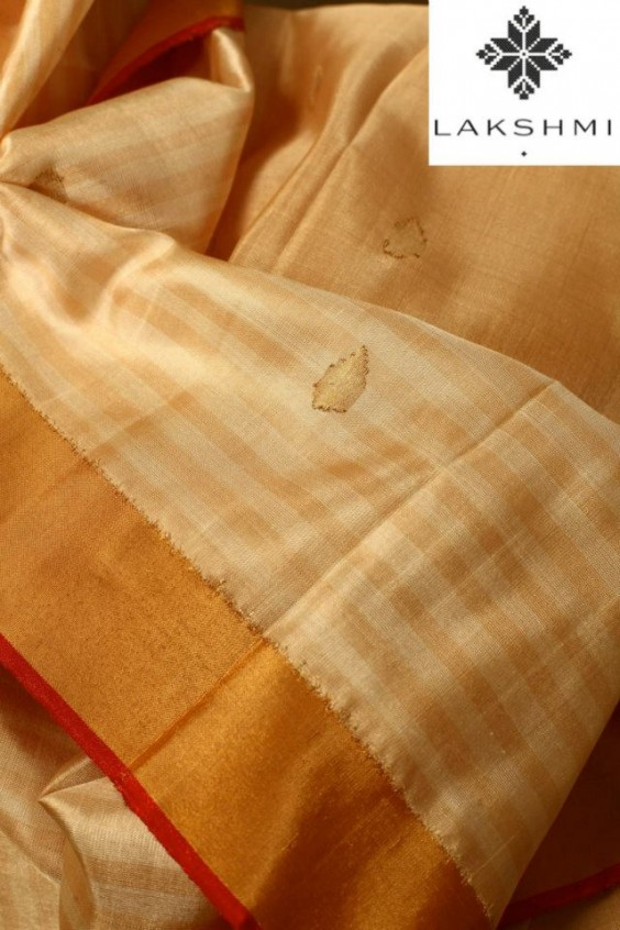 Beige Uppada Silk Sari with a floral design