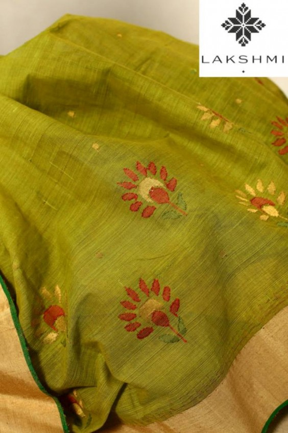 Green Khadi Sari with a mooga silk border