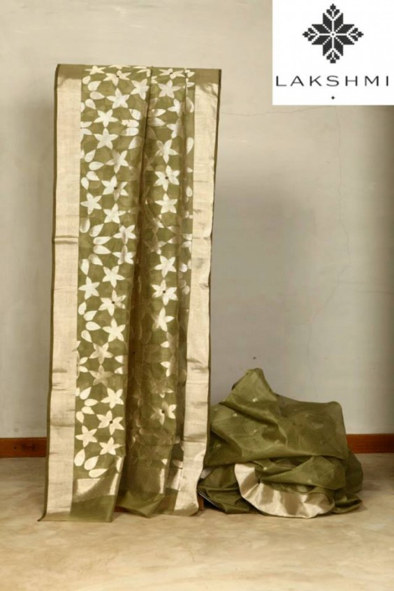 Olive Green Sari woven in the Chanderi region