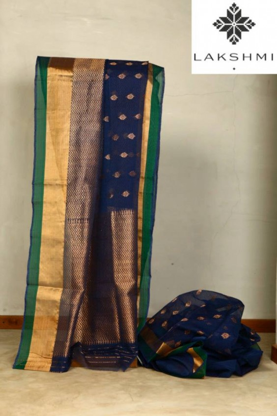 Pure Zari Kota with a striking blue and green colour combination