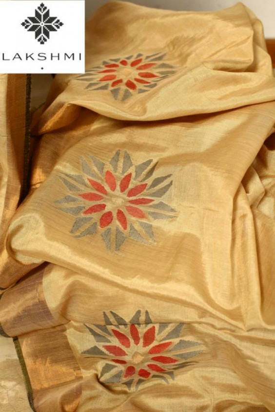Silk Khadi Sari with a large geometric pattern motif