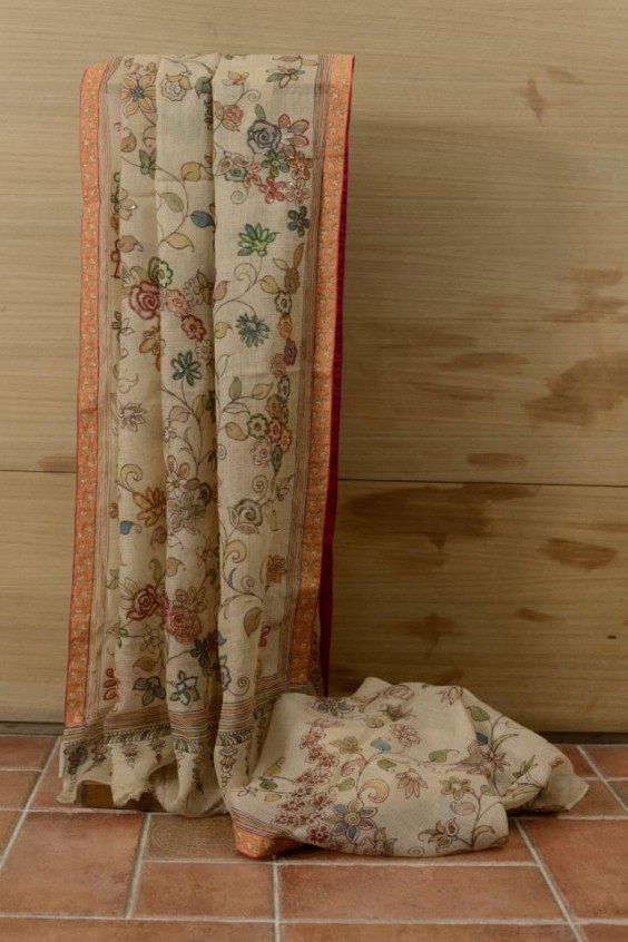 Silk Kota hand painted Kalamkari embelished with hand embriodery