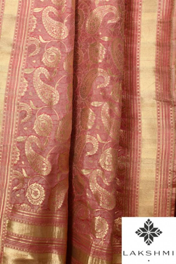 Soft Pink Benares Sari with a woven Paisley design