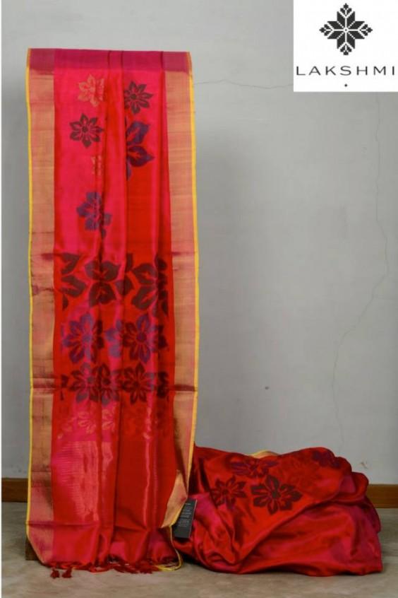 dark pink kanjivaram saree by lakshmi