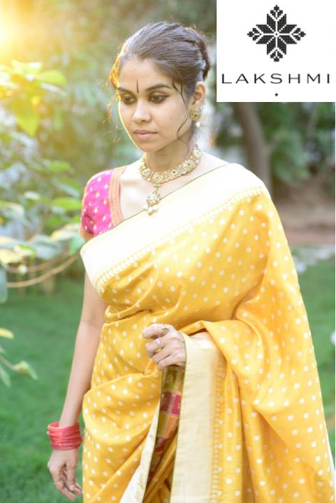 yellow kanjivaram saree