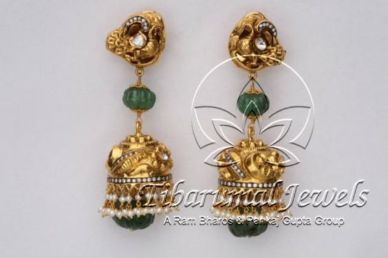 emerald-drop-jhumkas
