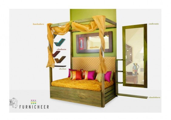 Four poster sofa bed with an upholstered bed back-ethnic-furniture