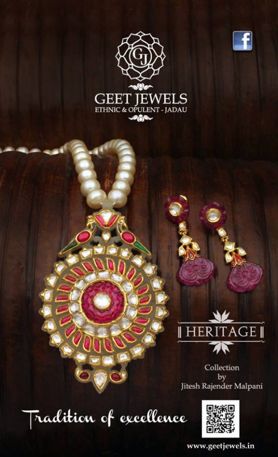 jadau necklace with pearls and rubies