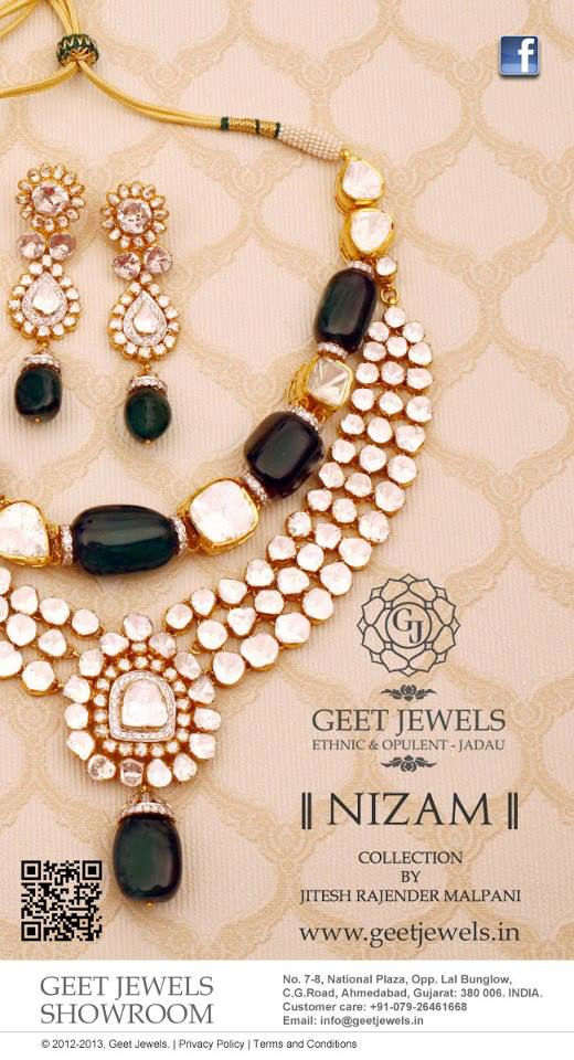 necklace and a pair of earrings belongs to the Nizam Collection presented by Geet Jewels