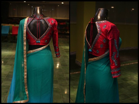Mirror worked raw silk blouse with chiffon shaded sari1