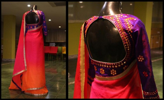 Mirror worked raw silk blouse with shaded chiffon sari.