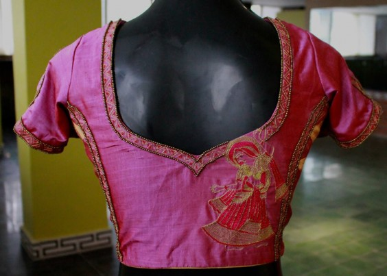 silk blouse embellished with bead and thread work, highlighting a dancing figurine