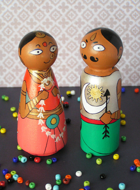 Arjuna and Draupadi - Hand Painted Wooden Golu Dolls