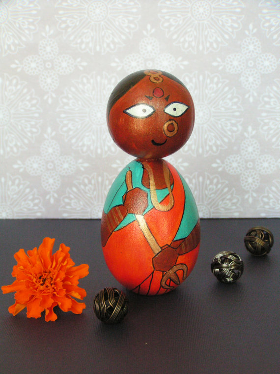 Durga Devi - Hand Painted Wooden Golu Dolls