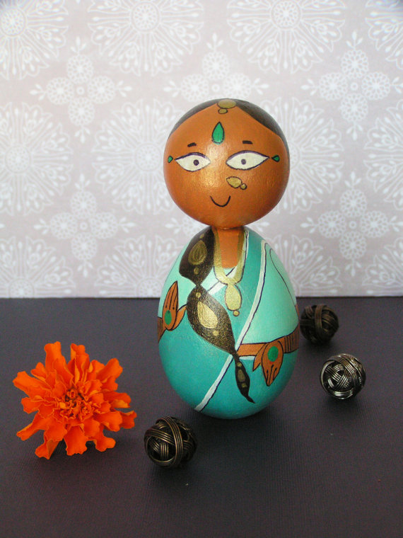 Ganga Devi - Hand Painted Wooden Golu Dolls