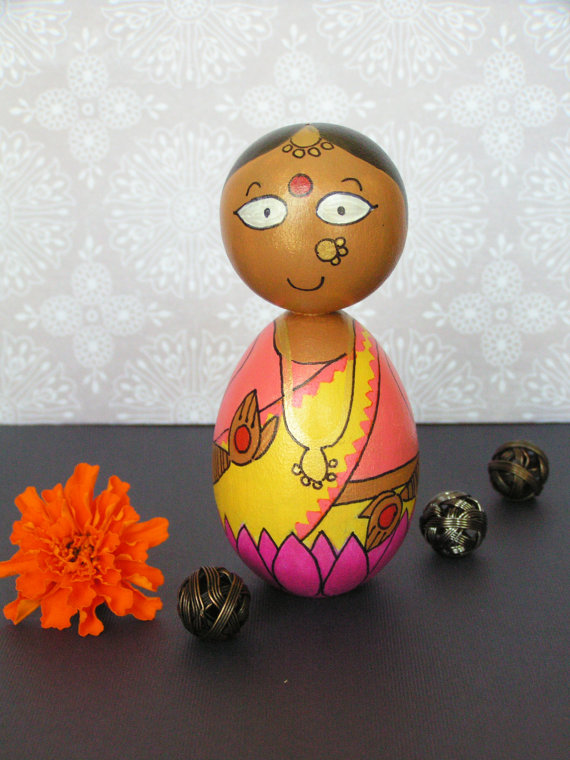 Lakshmi Devi - Hand Painted Wooden Golu Dolls