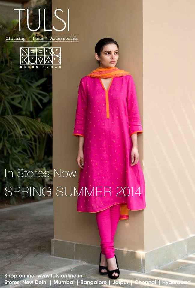 pink and orange salwar kameez from tulsi online