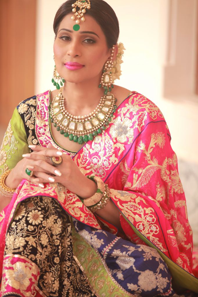 shreedevi chowdhary in kundans with emerald drops necklace from mbs jewellers