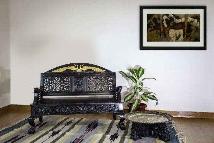 dark rosewood antique double seat sofa