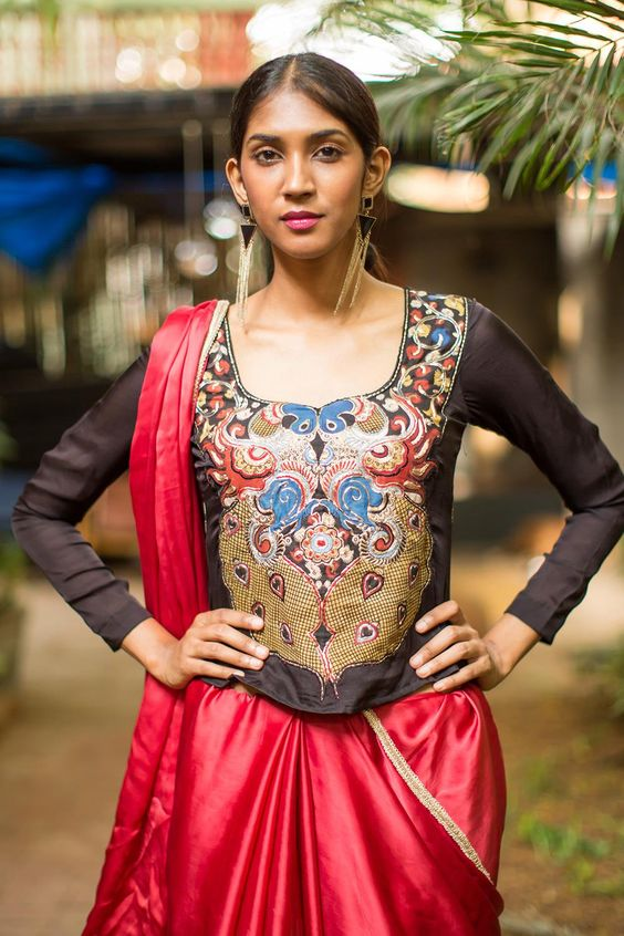 long blouse with kalamkari work