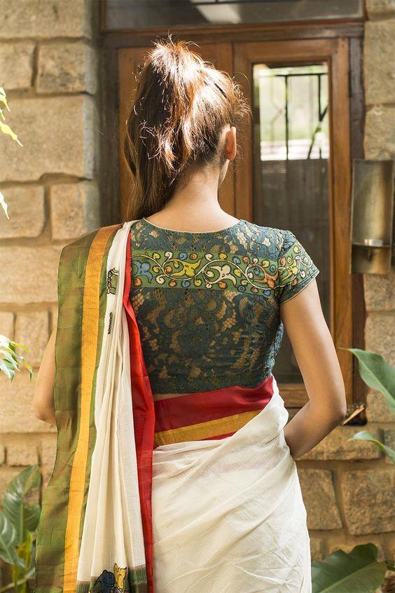 netted kalamkari blouse