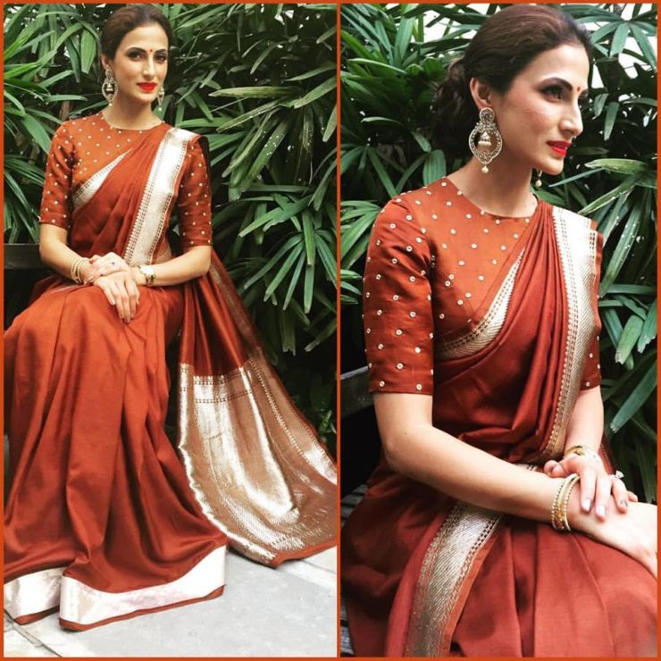 shilpa-reddy-in-chocolate-colour-benaras-silk-saree