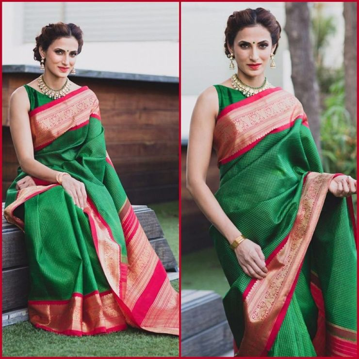 shilpa-reddy-in-classic-green-kanjivaram-saree