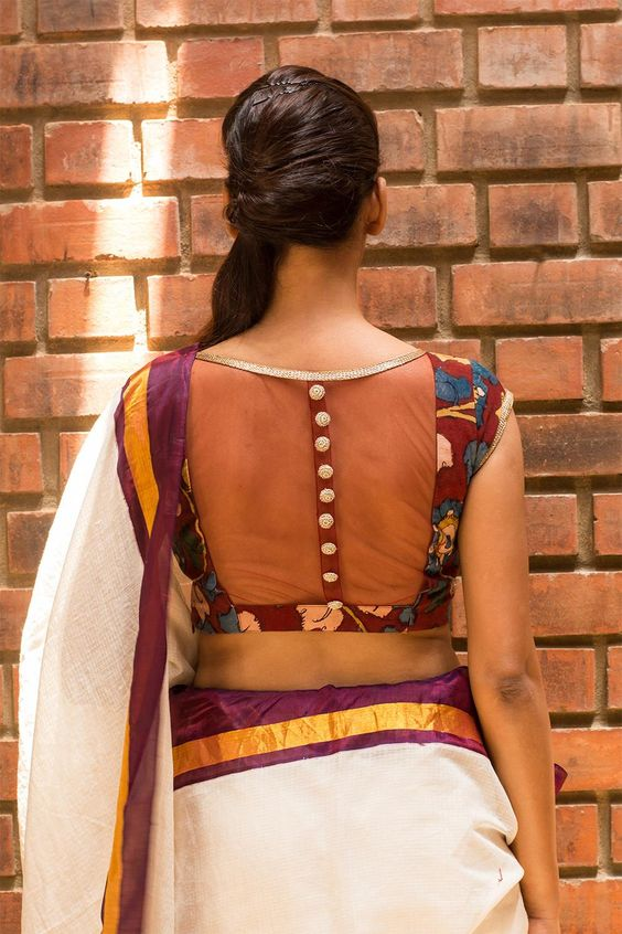 transparent kalamkari blouse