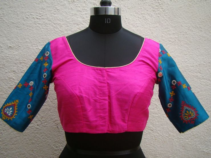 blue pink kutch work blouses from house of taamara