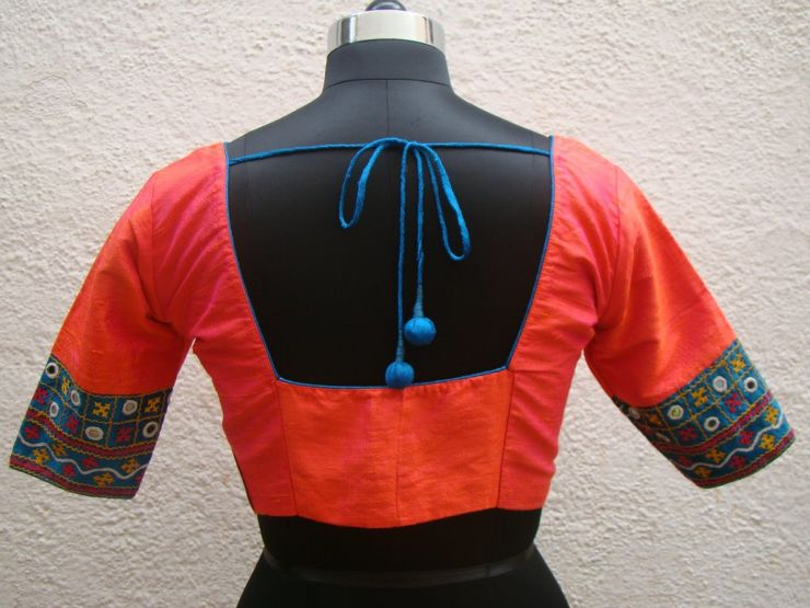 double shade orange kutch work blouses from house of taamara